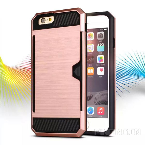 Brushed rose gold armor PC + TPU 2 in 1 hybrid combo case for iphone 6 card slot kickstand case for iphone 6s