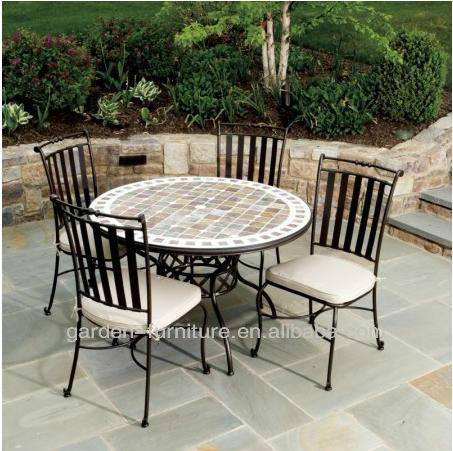 5 pieces patio cafe outdoor dining furniture sets wrought iron garden table and 4 chairs