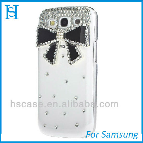 3D Luxury Crystal Diamond Bling bownot Case For Galaxy S3 Samsung i9300