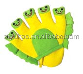 Cartoon kids bath glove wholesale baby bath glove with mesh sponge