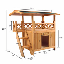 Wooden Pet Cat Dog House waterproof Puppy Room Indoor&Outdoor Roof Balcony Bed