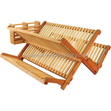 Bamboo wood 2 layer dish drainer
