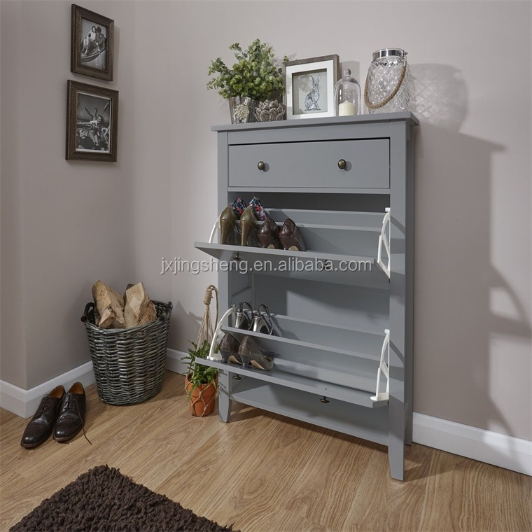 Cheap grey wooden Shoe Cabinet rack 3 Drawers Shoe Shelf Box living room furniture