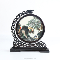 Double faced silk embroidery with wooden frame