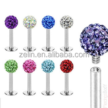 Internally threaded stainless steel labret stud with crystal paved ball body jewelry