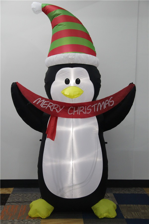 Inflatable christmas penguin with light hold a wish banner 2017