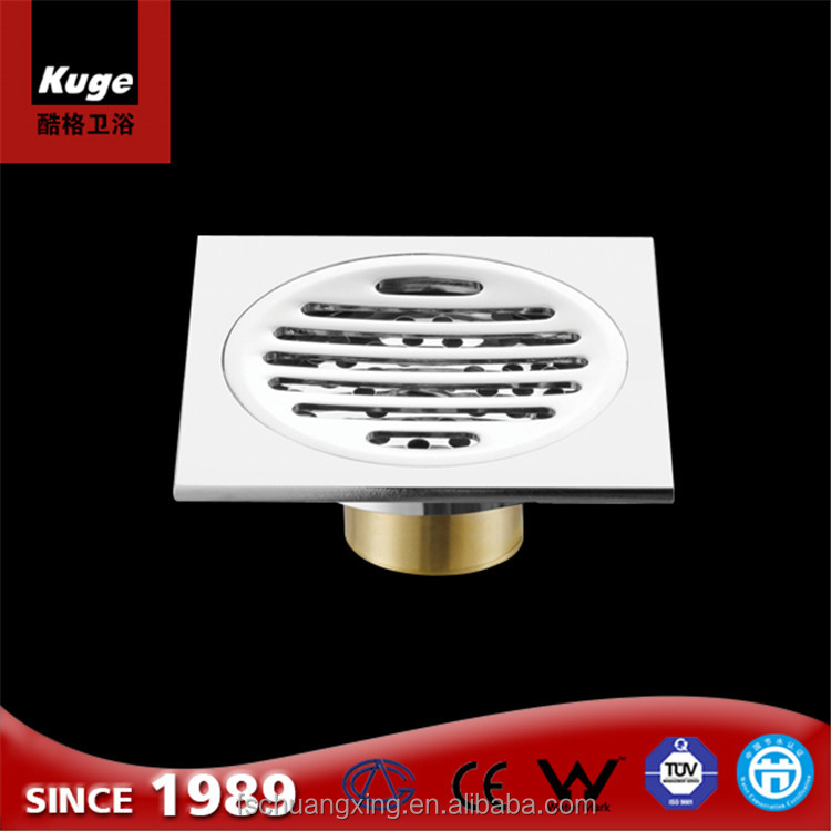 high quality satin finishing brass floor drainer with clean out bathroom/kitchen floor drain