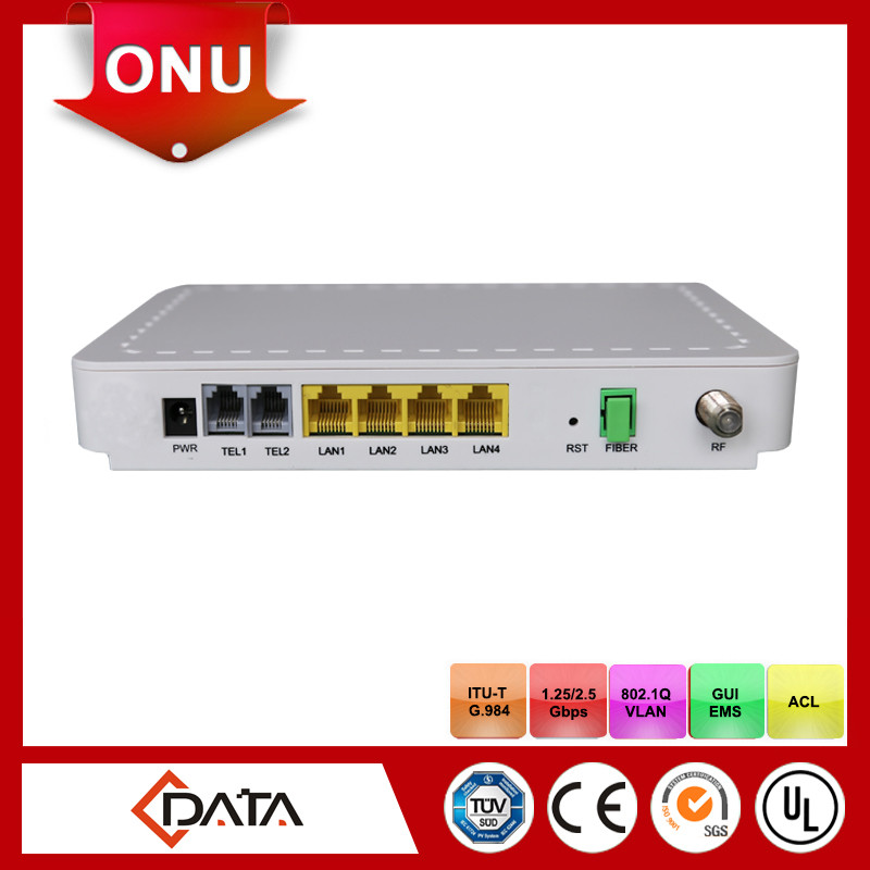 Internet broadcasting equipment 4GE+ 2POTS + CATV Single Fiber GPON ONT