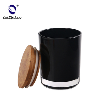 Wholesale Candle Jars With Wooden Lids,Matte Black Candle Jar,Frosted Glass Candle Jar With Lid