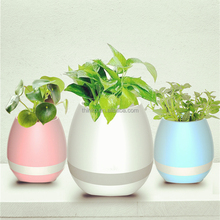 Wholesale bluetooth Touch Plant Music flower pot,wholesale plastic Smart led music flower pot