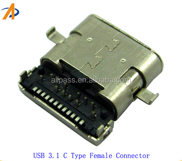 USB 3.1 C Female xlr connector pcb mount