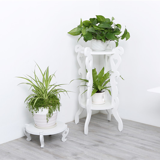 European Style Decorative White Flower Stand/ 3 Tier Wooden Plant Stand