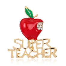 Gold plated zinc alloy rhinestone super teacher enamel Christmas apple brooch