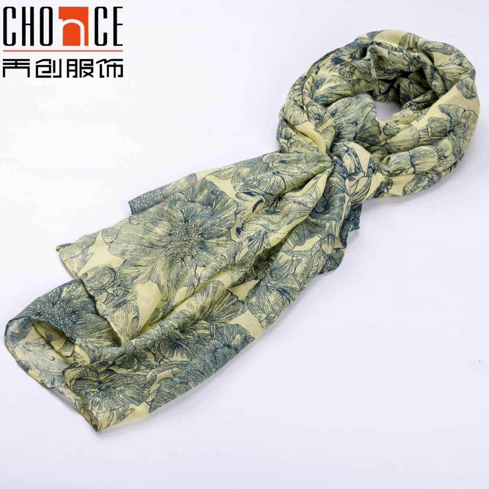 Fashion digital flower print silk scarf soft scarves for women