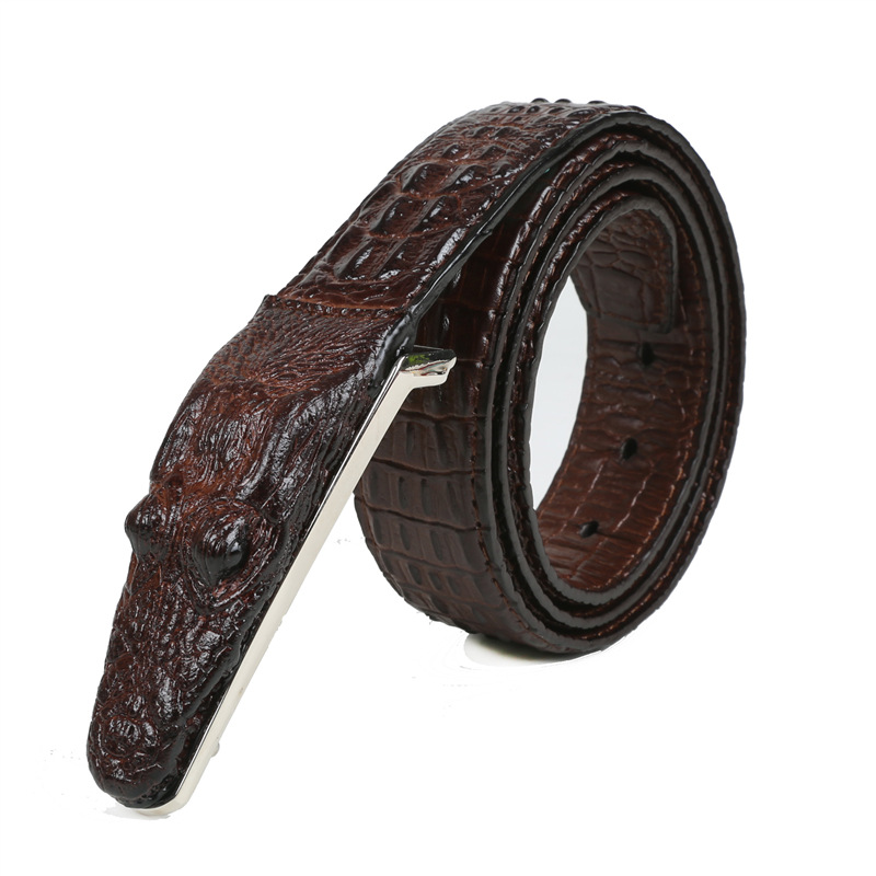 Men crocodile animal material strong leather <strong>belt</strong>