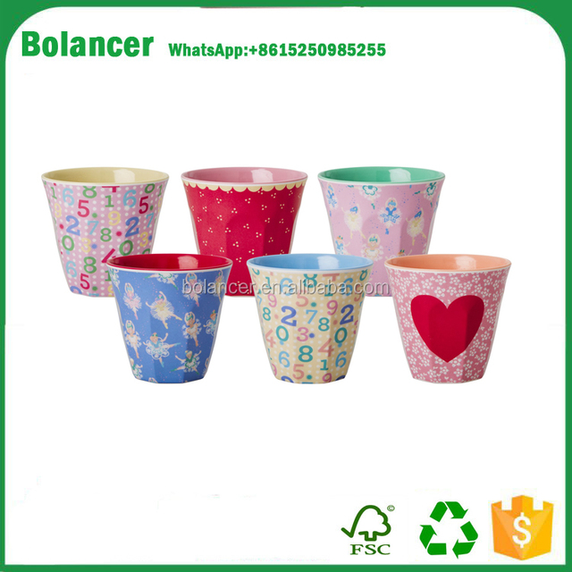 2016 Promotion dollar store items cheap printing decal samll size unbreakable melamine cup / elegant 200ml