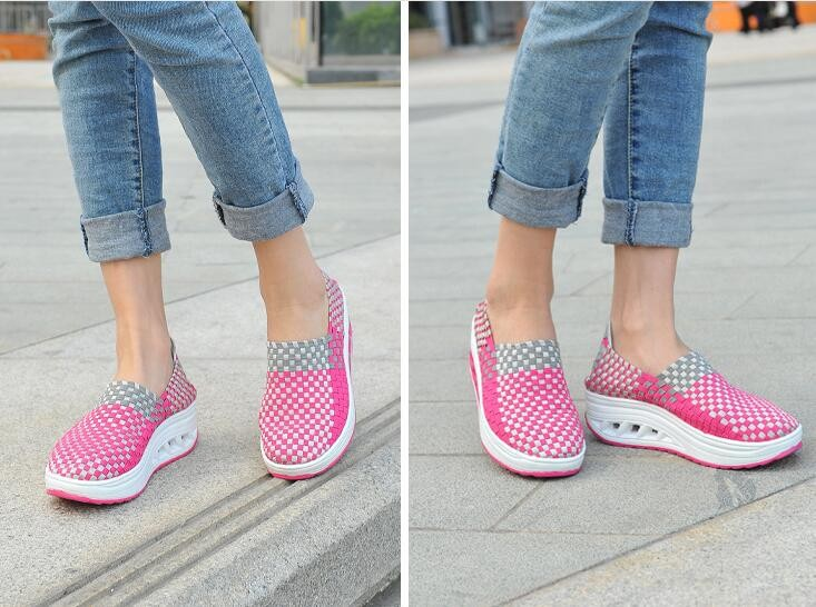 Handmade woven plastic slimming shoes for girls