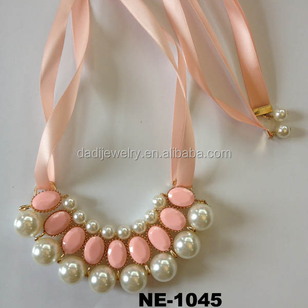 Pink Crystal Beads Pearl Beads Bb Pendant Necklace Ribbon Necklace