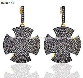 Pave Setting Diamond Cross Drop Earring fashionable 14k Gold Jewelry 925 Sterling Silver Handmade Jewelry Pave DIamond Earring