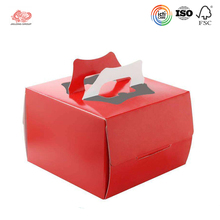 Recycled small cake printed paper box with handle