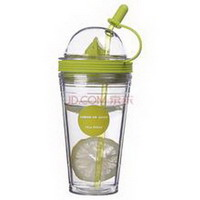 round ball shape plastic cup with straw