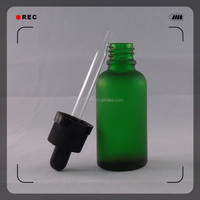 Hot sale 15 ml Frosted Matte Green empty glass e liquid bottle with dropper pipette