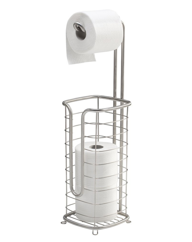 Square Standing Toilet Paper Holder Stand and Dispenser, with Storage for 3 Spare Rolls of Toilet Tissue while Dispensing 1 Roll