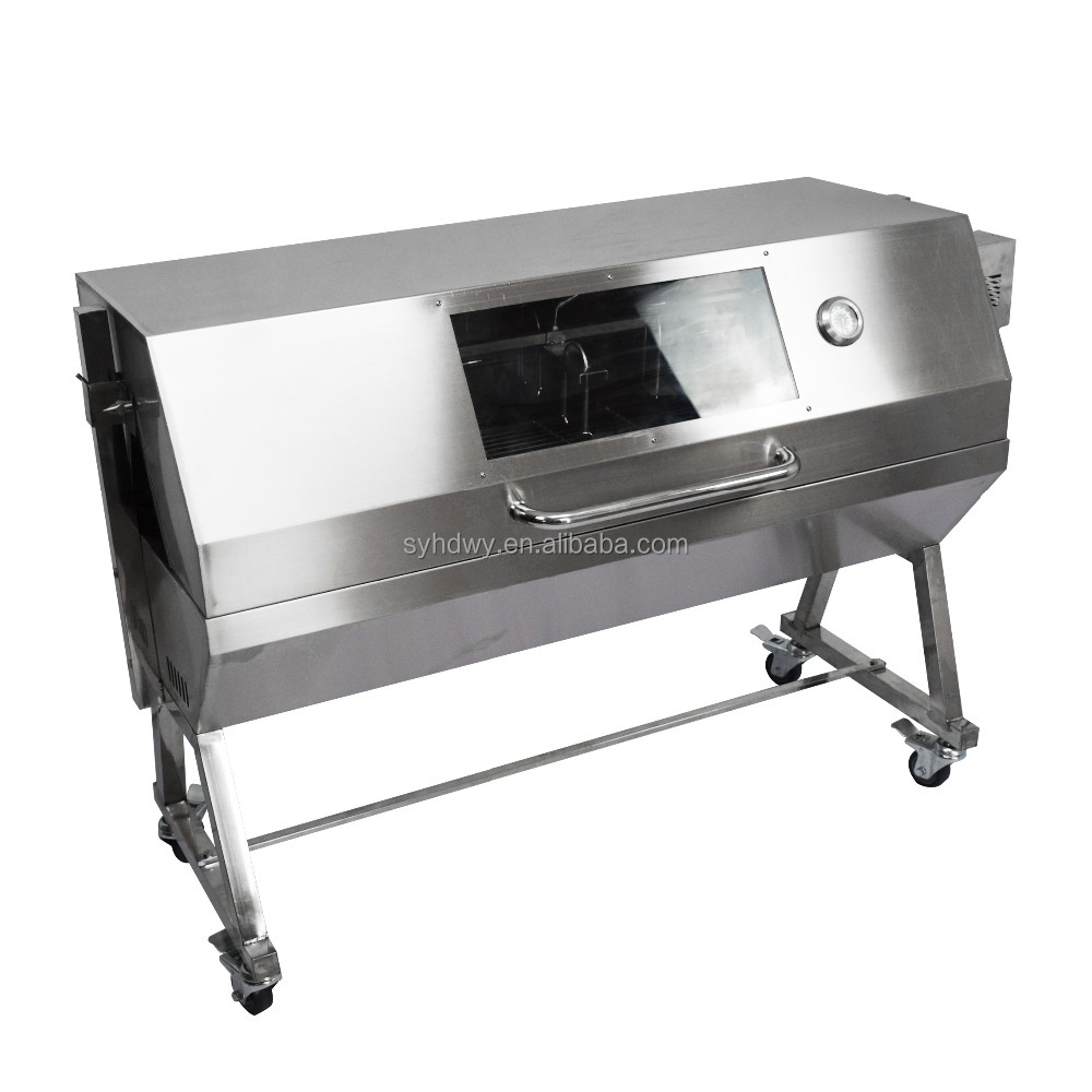 commercial large portable charcoal gas rotating pig lamb bbq grill