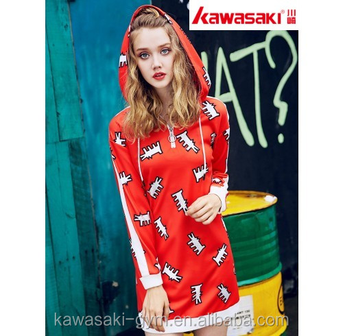 Fashion custom sublimation design girl long sleeve t shirt dress with hood