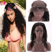 Popular brazilian human hair silk base lace front wig curly wave hot sale women hair wig