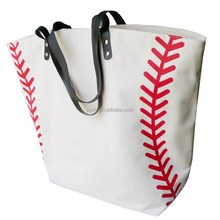 White Personalized Large Sport Cancas Baseball Tote Bag for Women