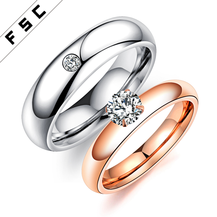 Arabic Gold Plated Stainless Steel One Stone Zircon Jewelry Wedding Engagement Couple Rings Designs