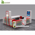 Modern mall cell phone accessories kiosk with wooden display counter for phone store