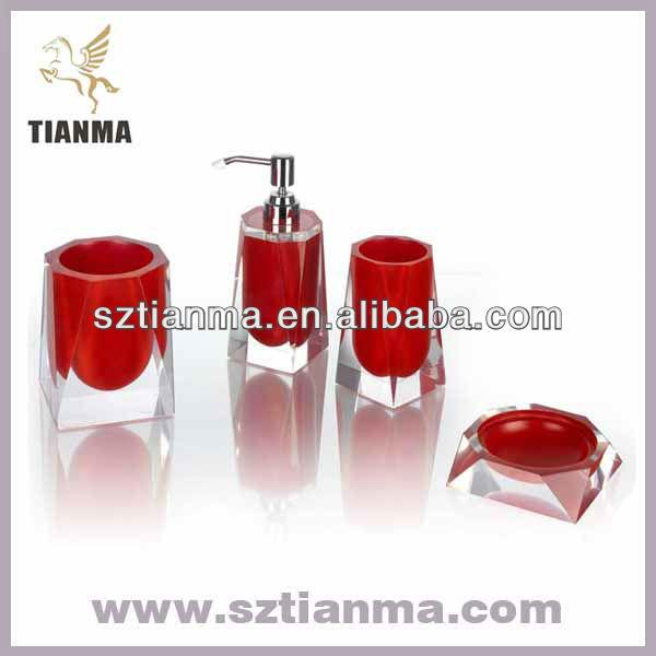 Resina de acr lico rojo oscuro accesorios de ba o sets for Accesorios bano rojo
