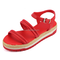 China shoe manufacturer fashion red ladies summer high heel women shoes 2016 sandals lady Casual Summer Sandal PU leather shoes