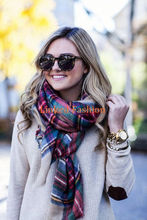 Women Wool Blend Blanket Oversized Tartan Scarf Wrap Shawl Plaid Checks Pashmina