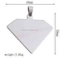 Free Shipping Eco-Friendly 316L Stainless Steel Blank Triangle Dog Tag Necklace Pendant With Bail Clasp