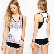 2015 New arrival fashion crop top/plain crop tops wholesale/white sleeveless floral printed 100% cotton women crop top