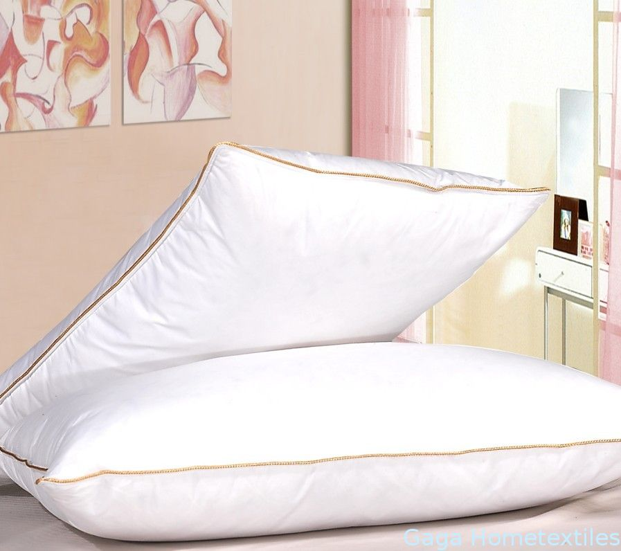 30% White Duck down doubel stitched Gold-Piping Cotton Hotel pillow insert