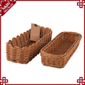 Home or restaurant tableware using eco-friendly plastic rattan bread basket kitchen cutlery tray basket