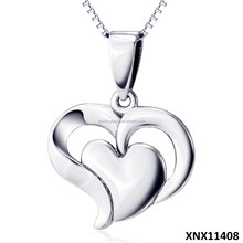 New Arrival 925 Sterling Silver Double Heart Necklace Simple Design Heart Jewelry