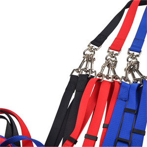Adjustable Nylon 3 Way No-Tangle Triple Coupler Pet Dog Walking Leash Lead with Padded Soft Handle Breakaway 3 Heads Lead Leash