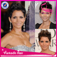 natural color #1#1b#2#4 in stock 6Agrade 8-30inch halle berry short style brazilian virgin hair full lace wig