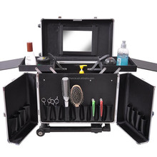 Professional Hair Stylist Aluminum Rolling Tool Box Makeup Artist Salon Train Case