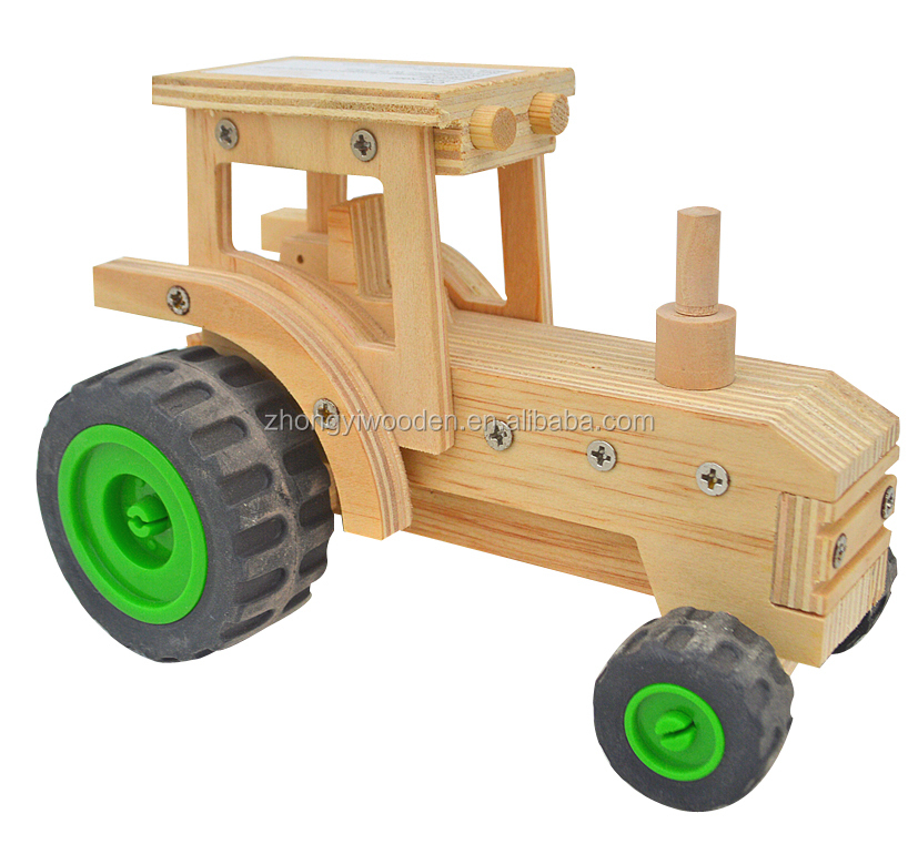 hot selling FSC&SA8000 Christmas crafts smart kids self assemble DIY wooden small car toy for students educational