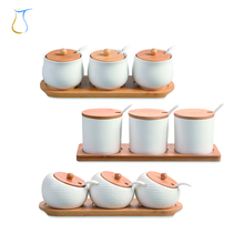 With Serving Spoons Lids and Wooden Base Ball White Condiment Pots Ceramic 100ml spice jar for Home and Kitchen