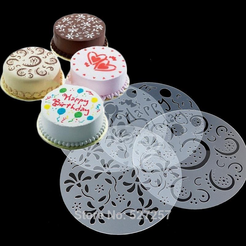 Wholesale 4pcs/set Cake Pastry Coffee Mold Stencil Plastic ...