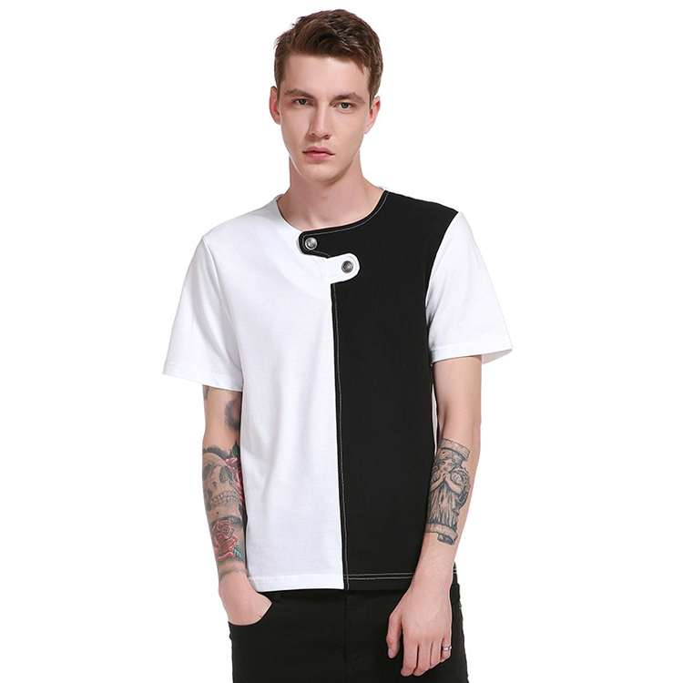 New arrival casual button 50 cotton 50 polyester 2 dollar cut and sew t shirt