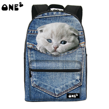 One2 design cute cat pattern fashion travel backpack for kids