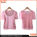 2016 OEM China cheap new pearl short sleeve knit lace pink blue women t shirt wholesale